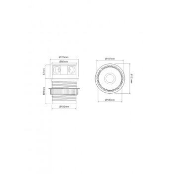 Presa da Incasso TETRA BOX 3x Schuko + 2x USB - Silver