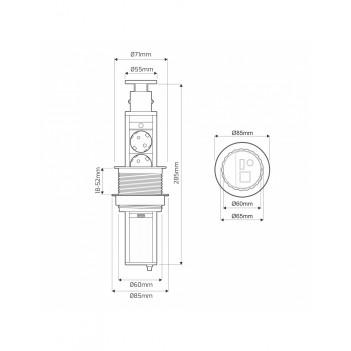 Presa da Incasso LIFT BOX 3x Schuko - Alluminio
