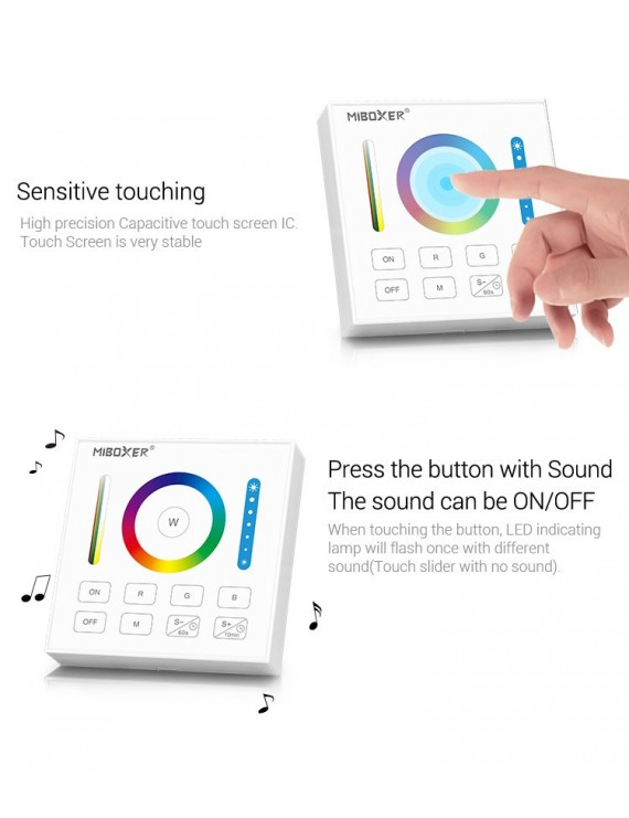 MiBoxer Mi-Light Telecomando da Muro RF RGB+CCT Full Touch B0