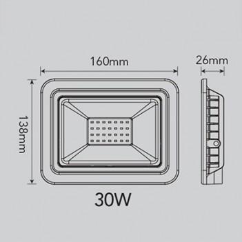 Proiettore per Esterno 30W 3220 lumen - FSL Nero