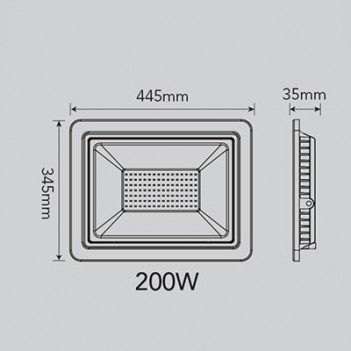 Proiettore per Esterno 200W 25760 lumen - FSL Nero